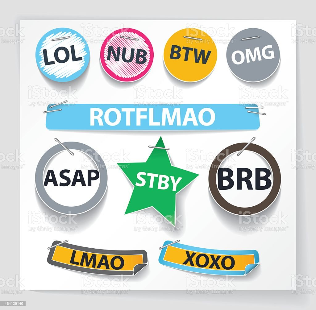 Set of internet acronyms as labels vector art illustration