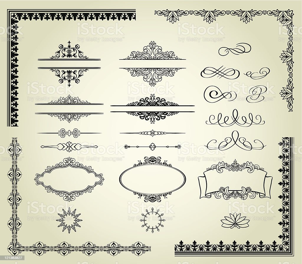 Set of intricate page framing designs royalty-free stock vector art