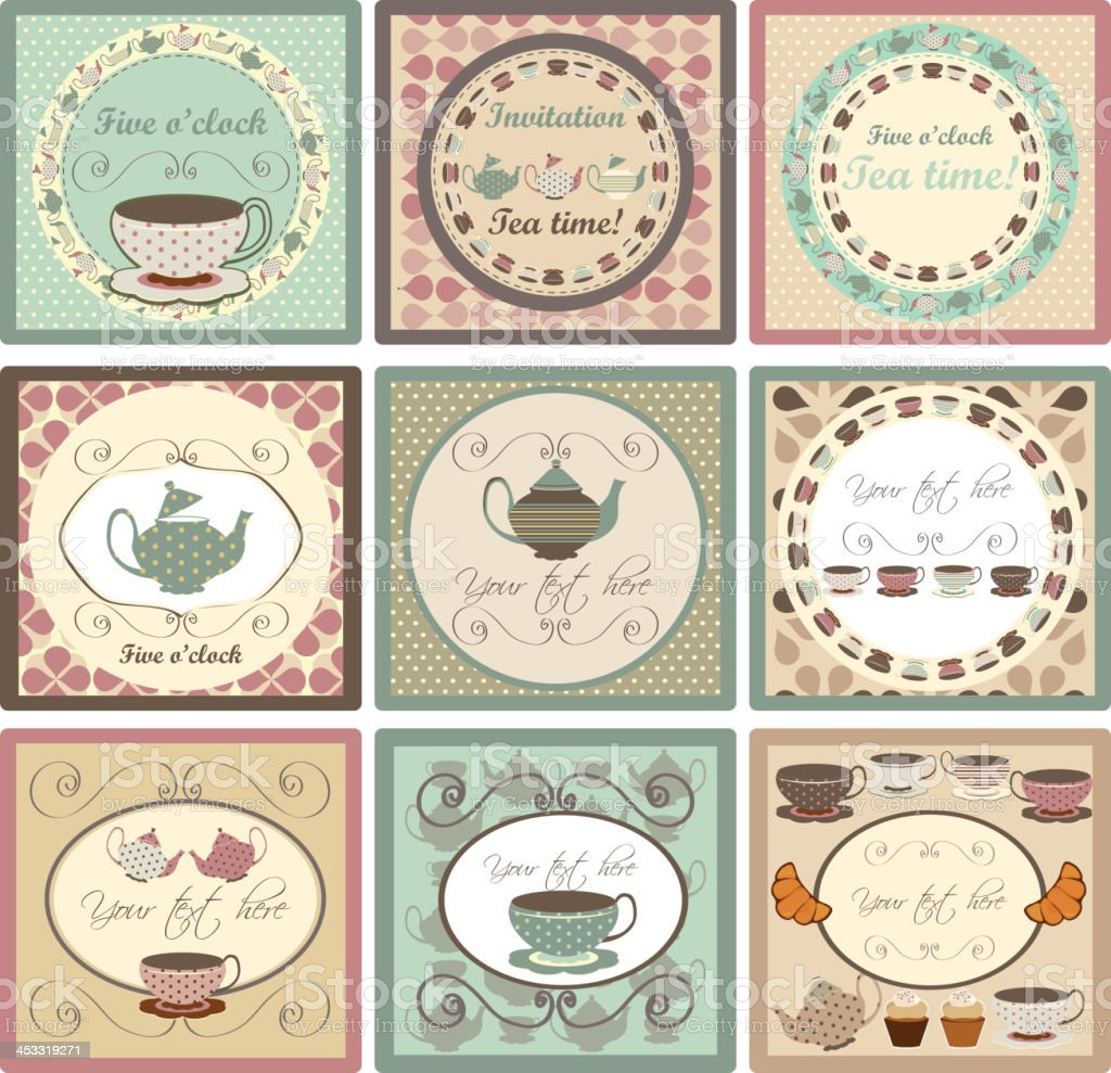 Set of Invitation cards for tea party vector art illustration