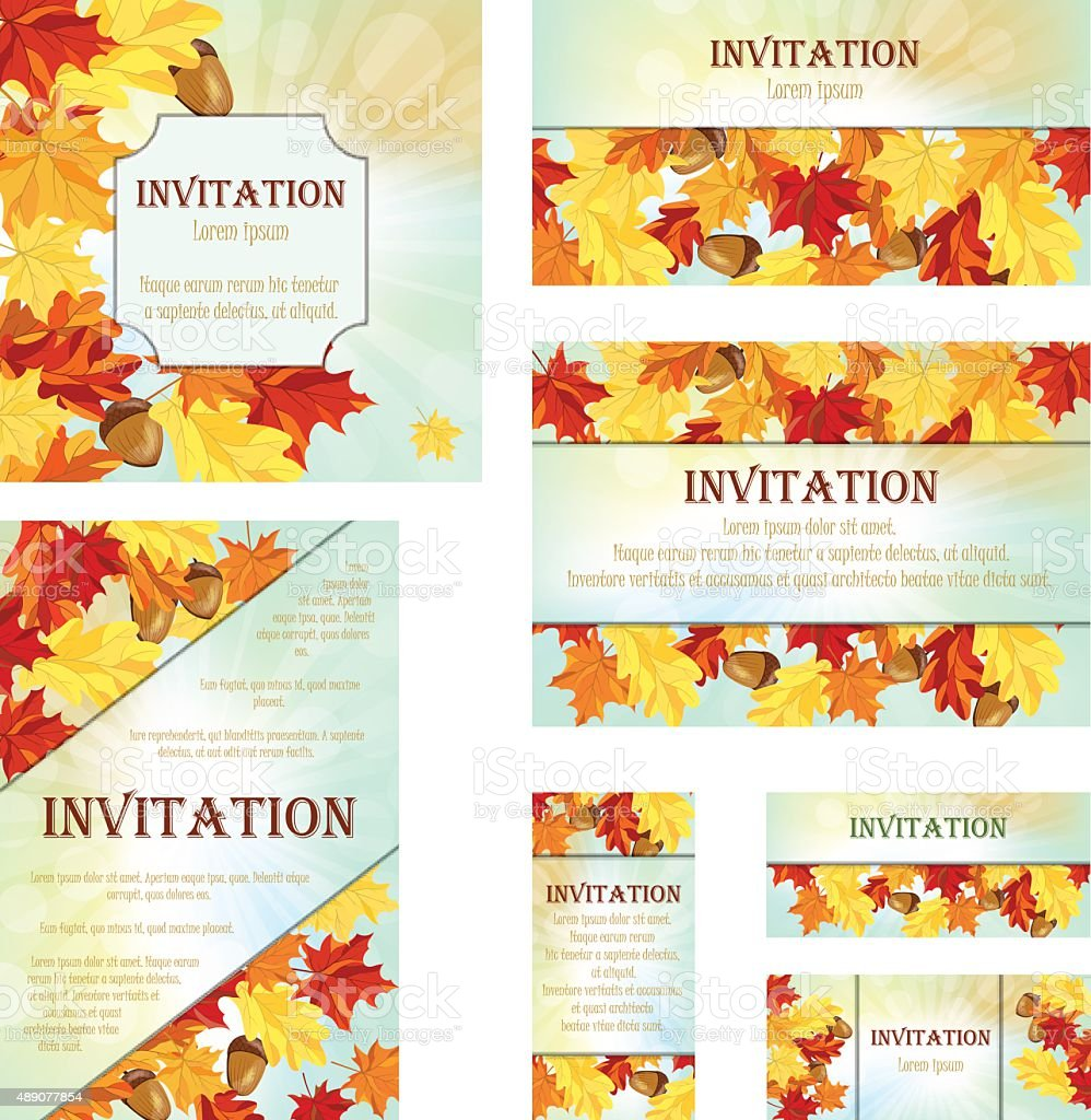 Set of Invitation Cards vector art illustration