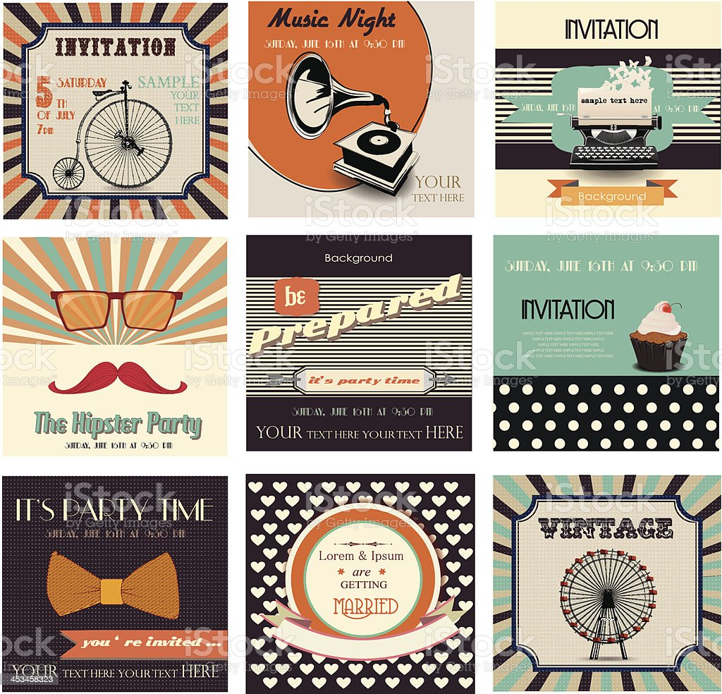 set of invitation cards,vintage labels and retro backgrounds royalty-free stock vector art
