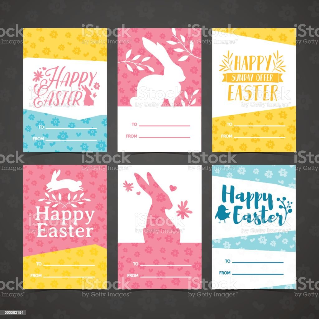 Set of invitation for easter. Template for the design of cards for the spring holiday of Happy Easter party . Decor with a floral pattern. Logos with silhouettes of rabbit, chick and plant. Vector. vector art illustration