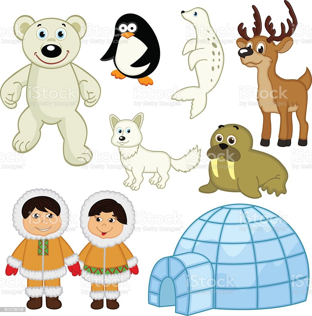 set of isolated  animals and people in the Arctic vector art illustration