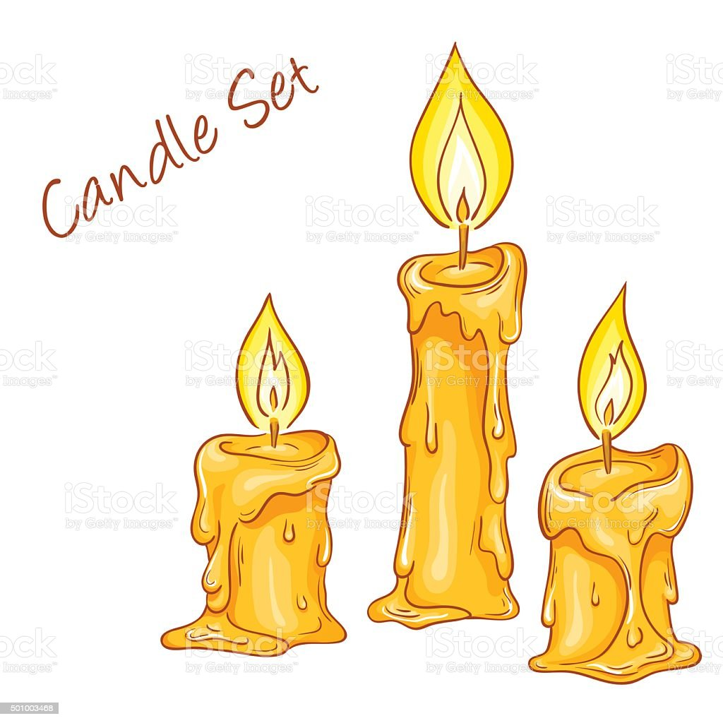 set of isolated cartoon hand drawn melted candles vector art illustration