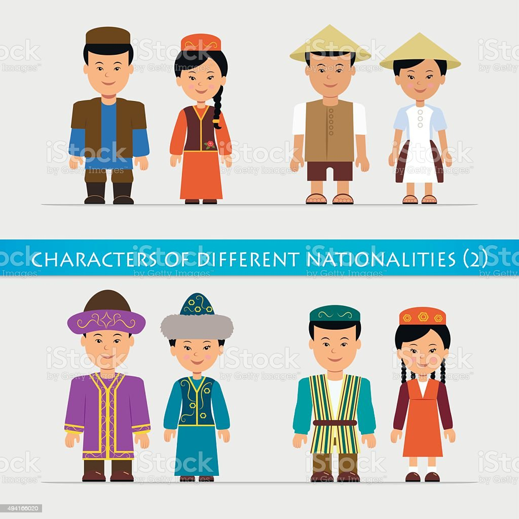 Set of isolated characters in traditional national costumes. vector art illustration