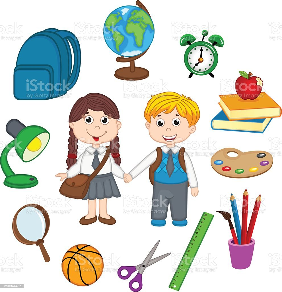 set of isolated children and school supplies vector art illustration