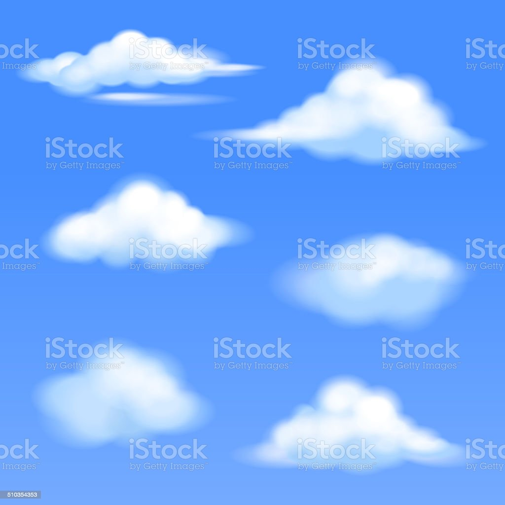 set of isolated clouds vector art illustration