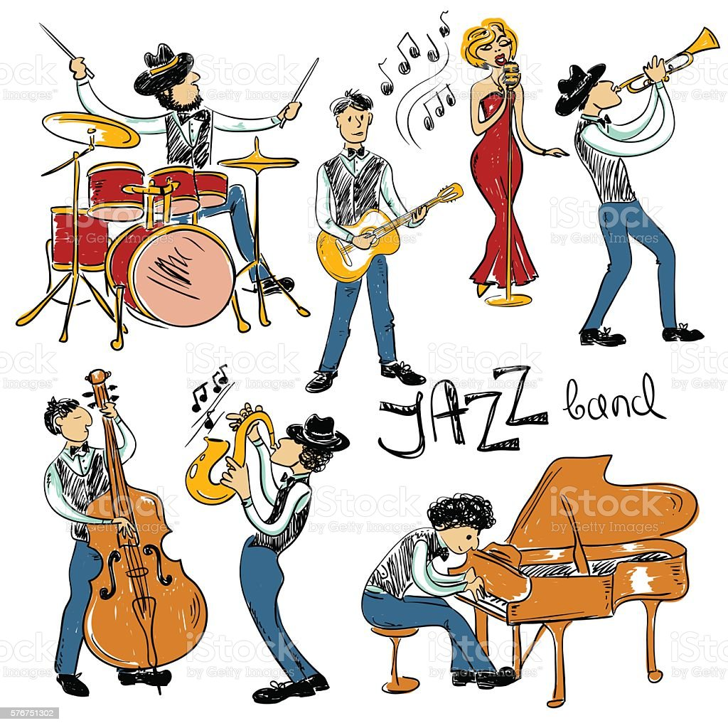 Set Of Isolated Colorful Jazz Musicians. vector art illustration