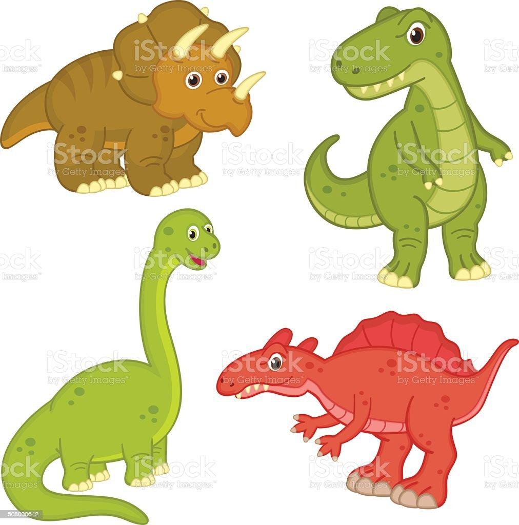 set of isolated dinosaur vector art illustration