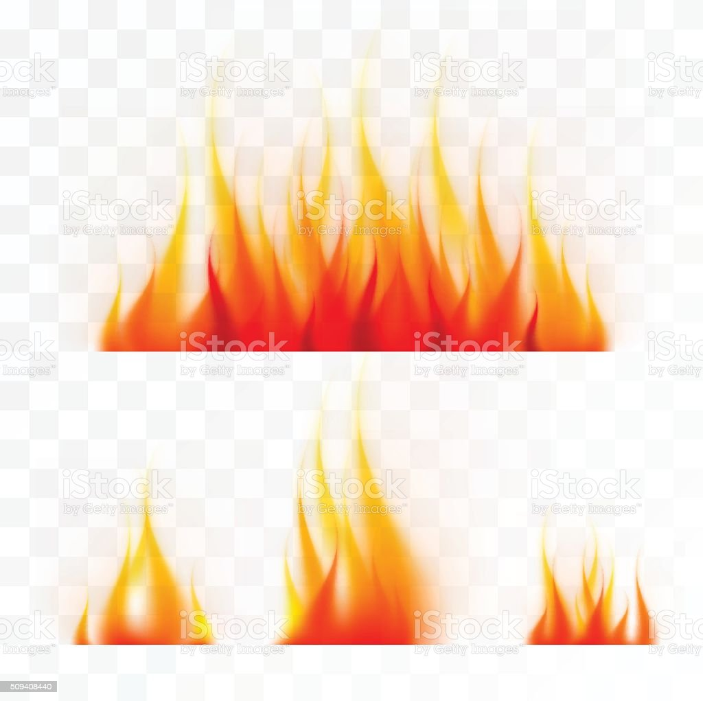 Set of isolated flames vector art illustration