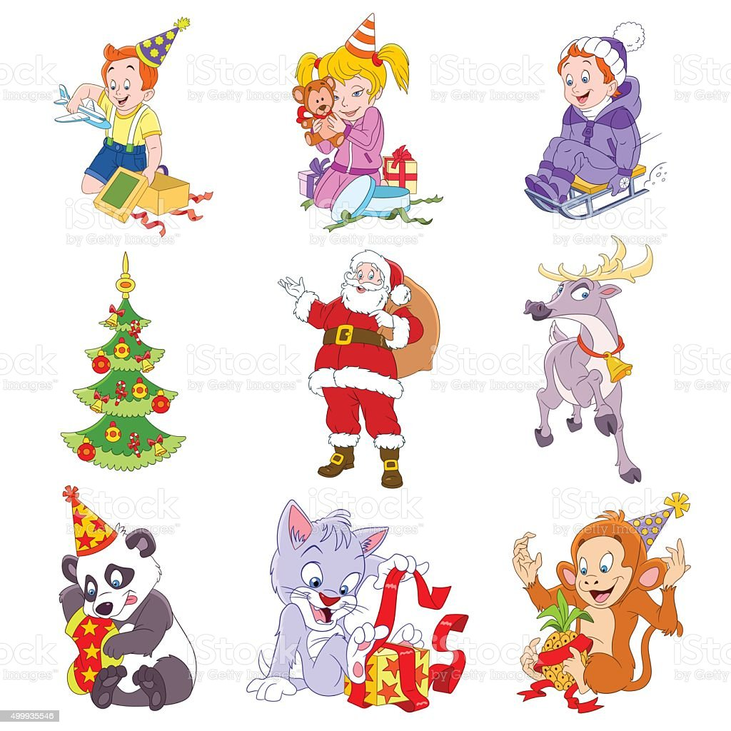 set of isolated funny cartoon Christmas icons vector art illustration