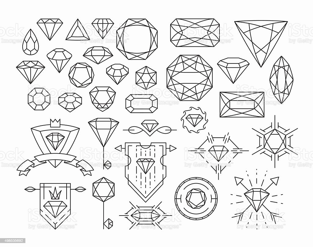 Set of isolated gemstones and thin line design elements vector art illustration