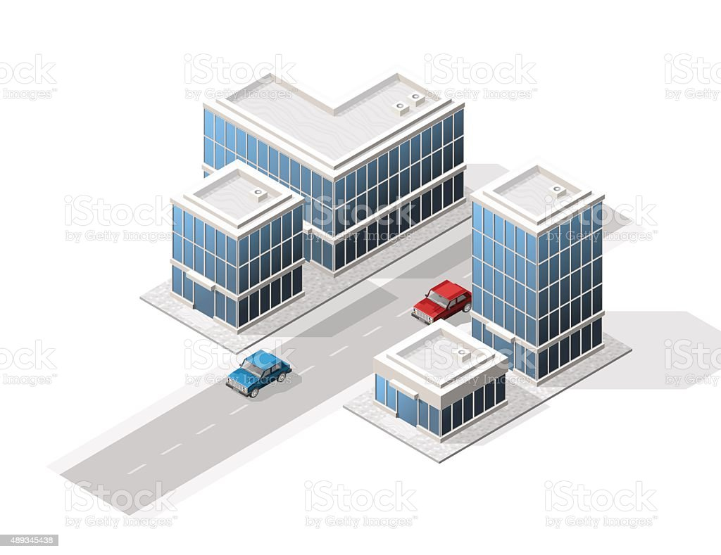 Set of Isolated High Quality Isometric City Elements. vector art illustration