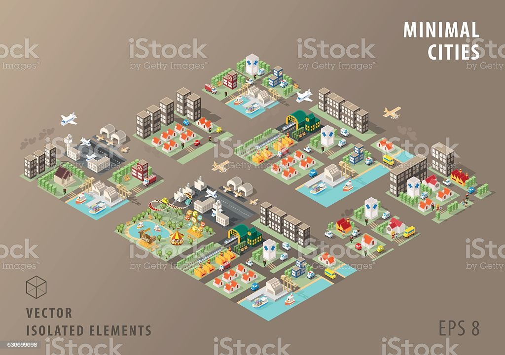 Set of Isolated Isometric Minimal City Maps. Elements. vector art illustration
