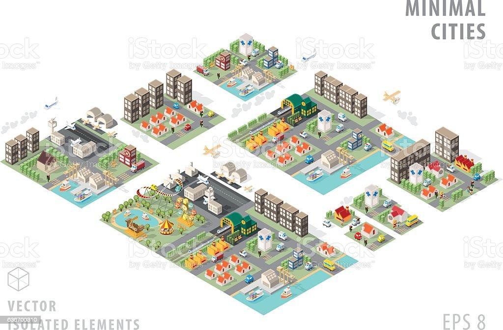 Set of Isolated Isometric Minimal City Maps. vector art illustration