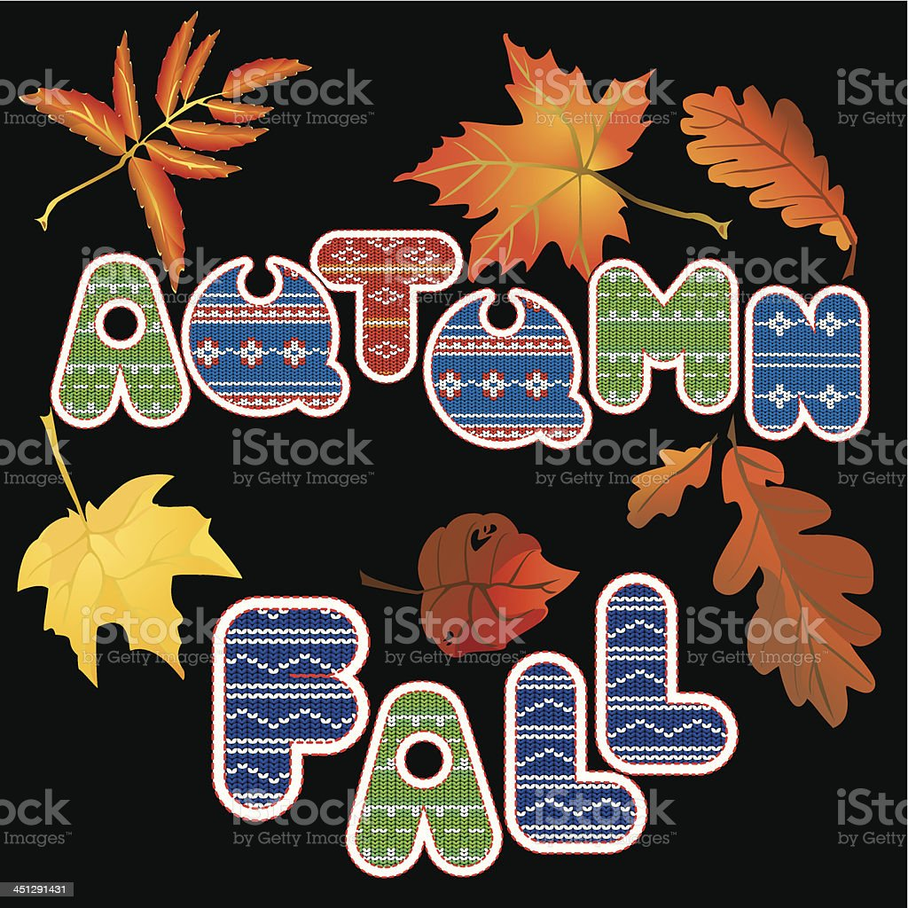 Set of isolated leafs and words AUTUMN, FALL. royalty-free stock vector art