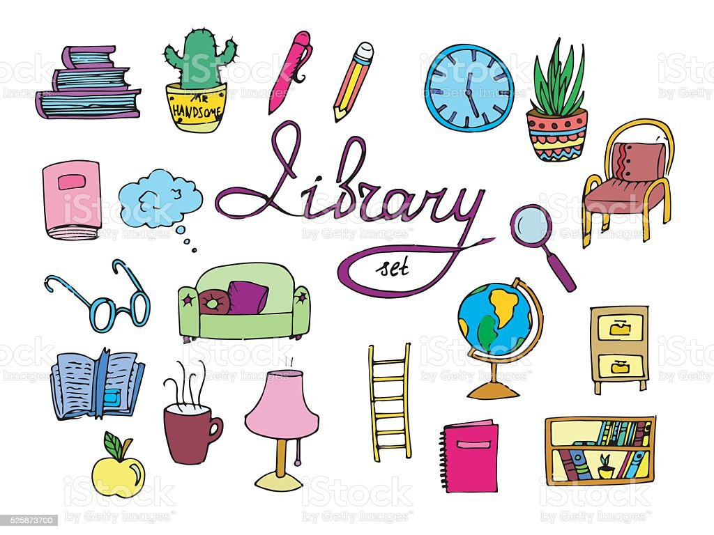 Set of isolated library icons. vector art illustration
