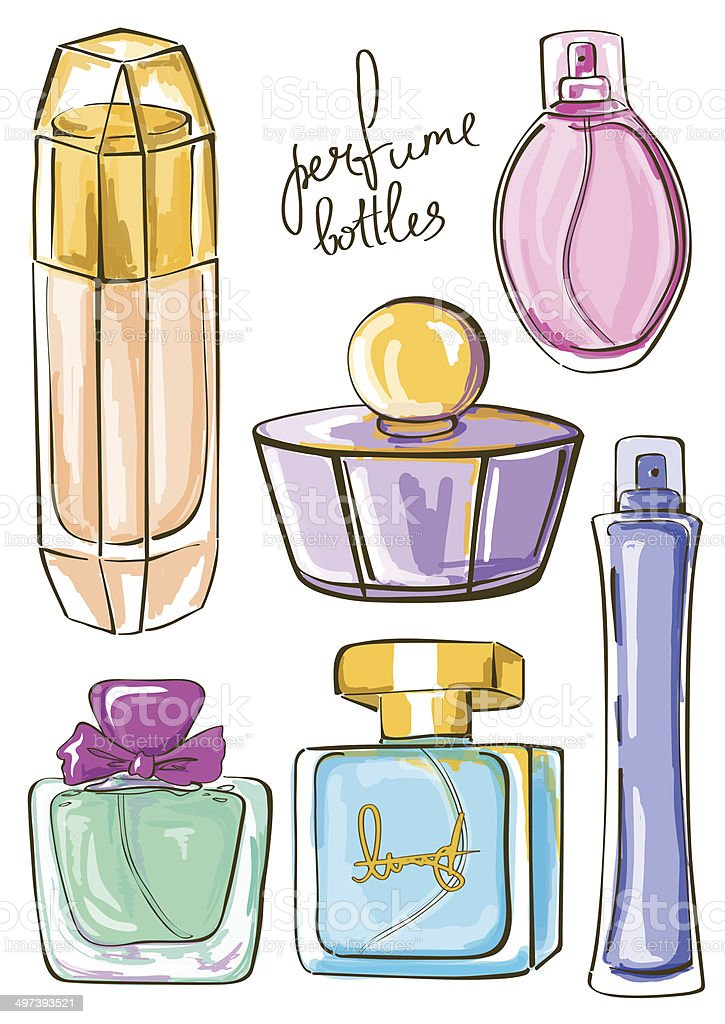Set of isolated perfume bottles icons royalty-free stock vector art