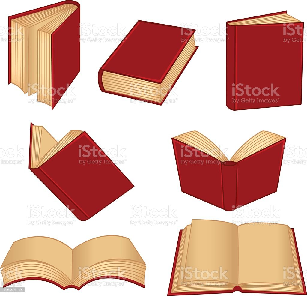set of isolated red book vector art illustration