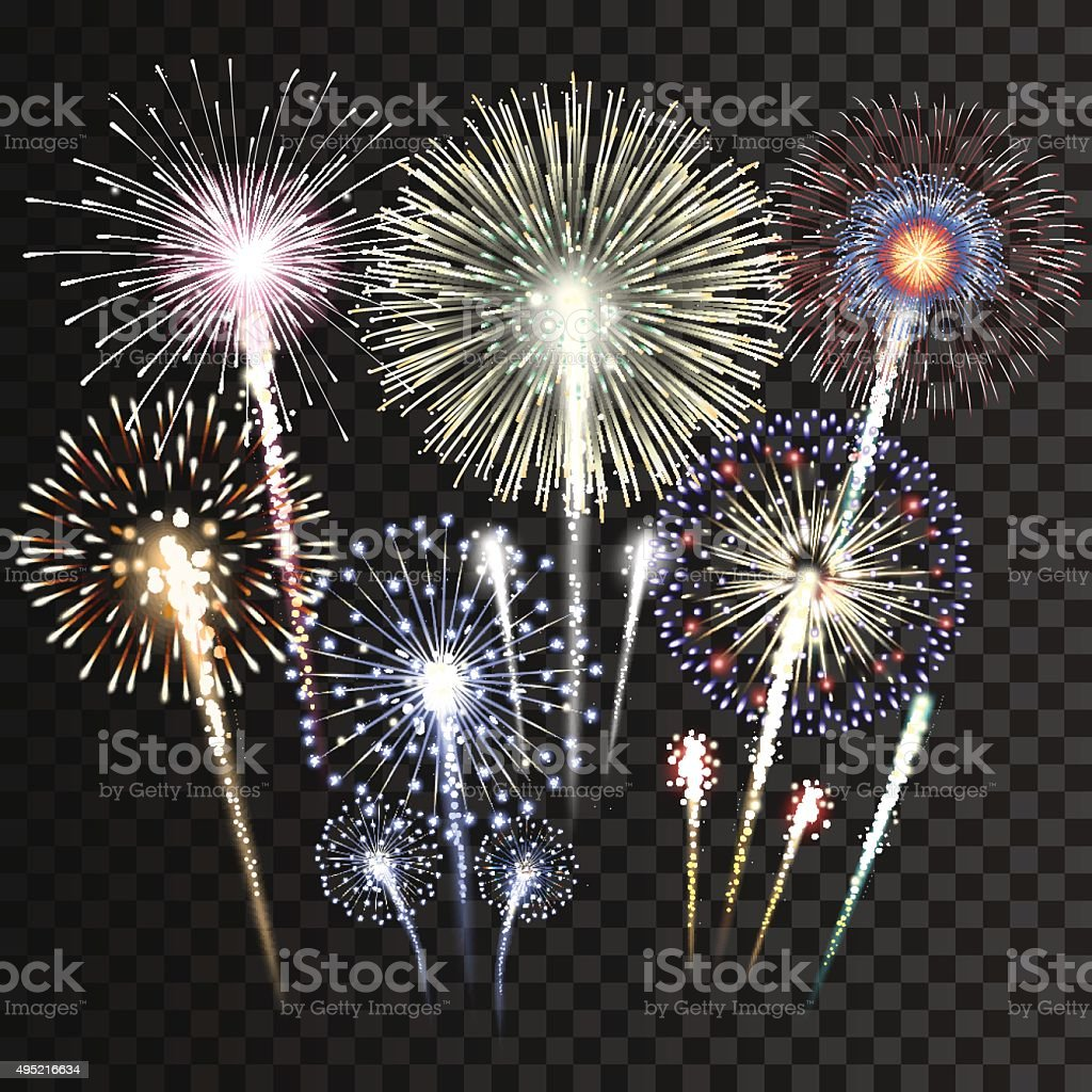 Set of isolated vector fireworks vector art illustration