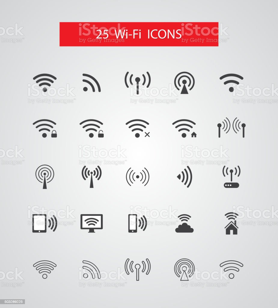 Set of isolated vector wireless icons vector art illustration