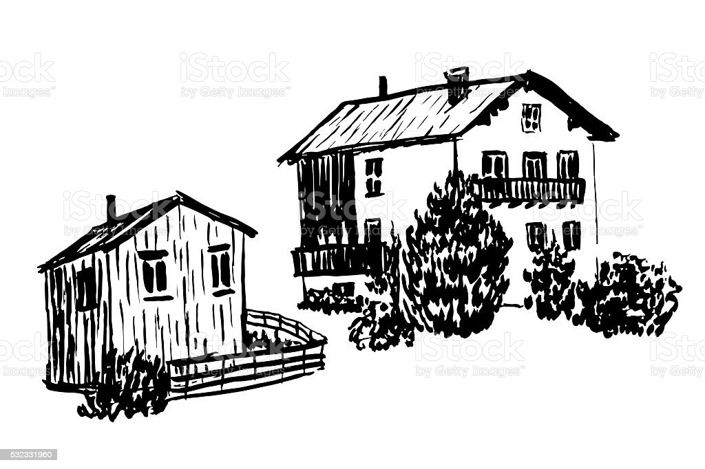 set of isolates two wooden Alpine huts vector illustration vector art illustration
