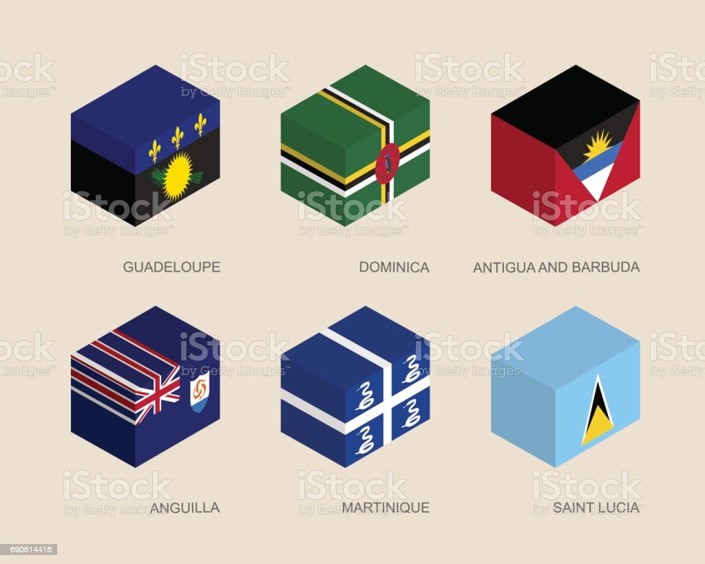 Set of isometric 3d boxes vector art illustration