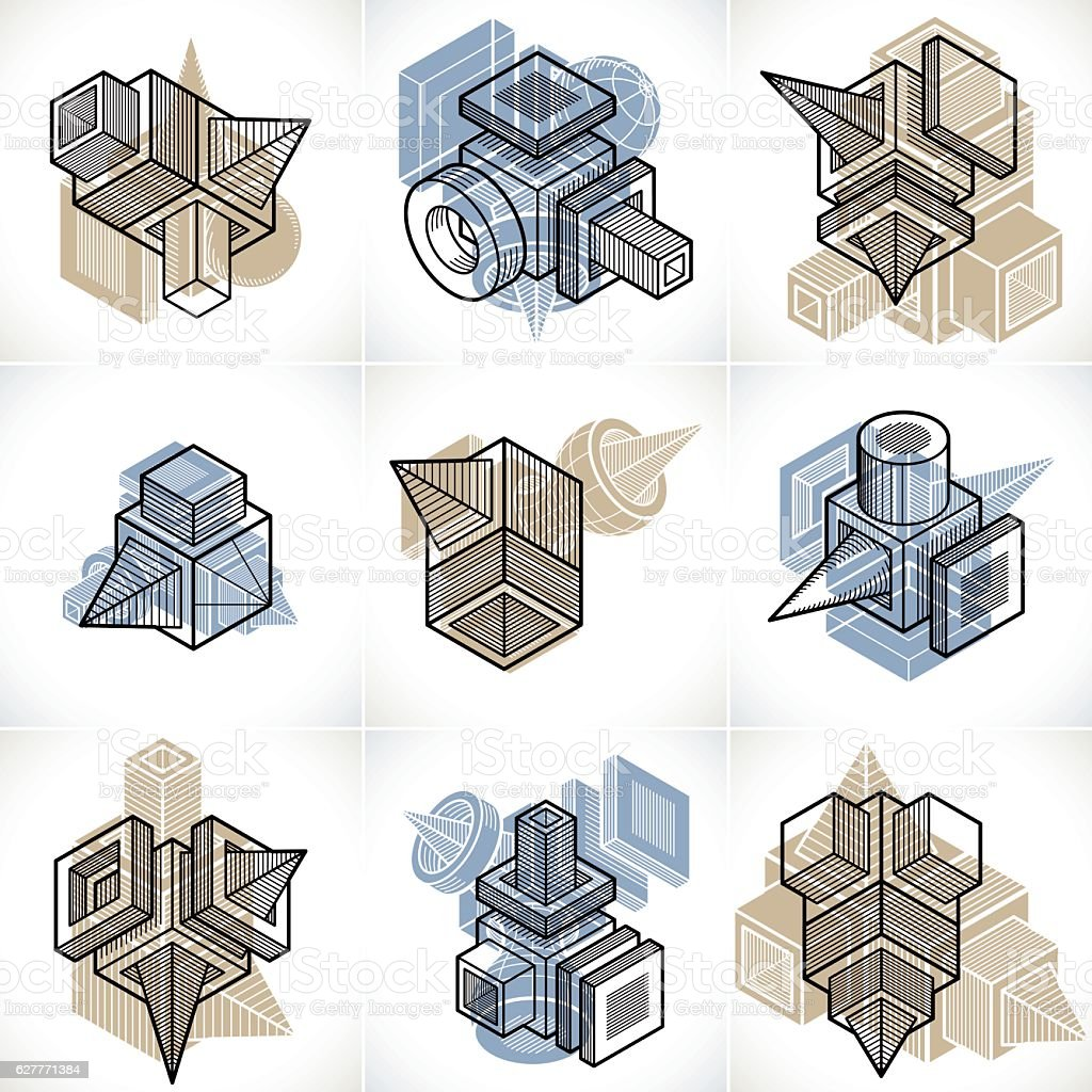Set of isometric abstract vector geometric shapes. vector art illustration