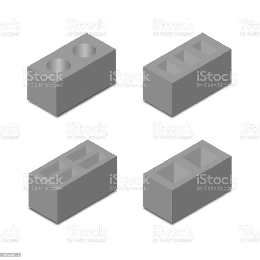 A set of isometric cinder blocks, vector illustration. vector art illustration