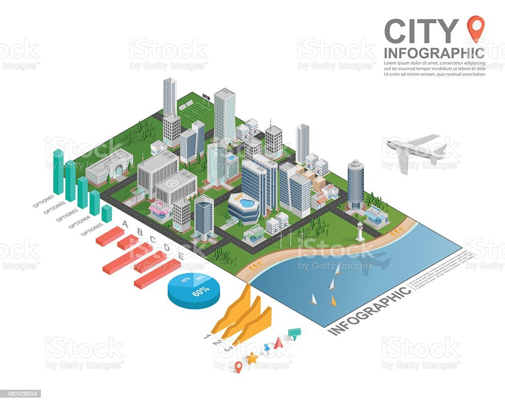 Set of isometric city infographic, vector vector art illustration