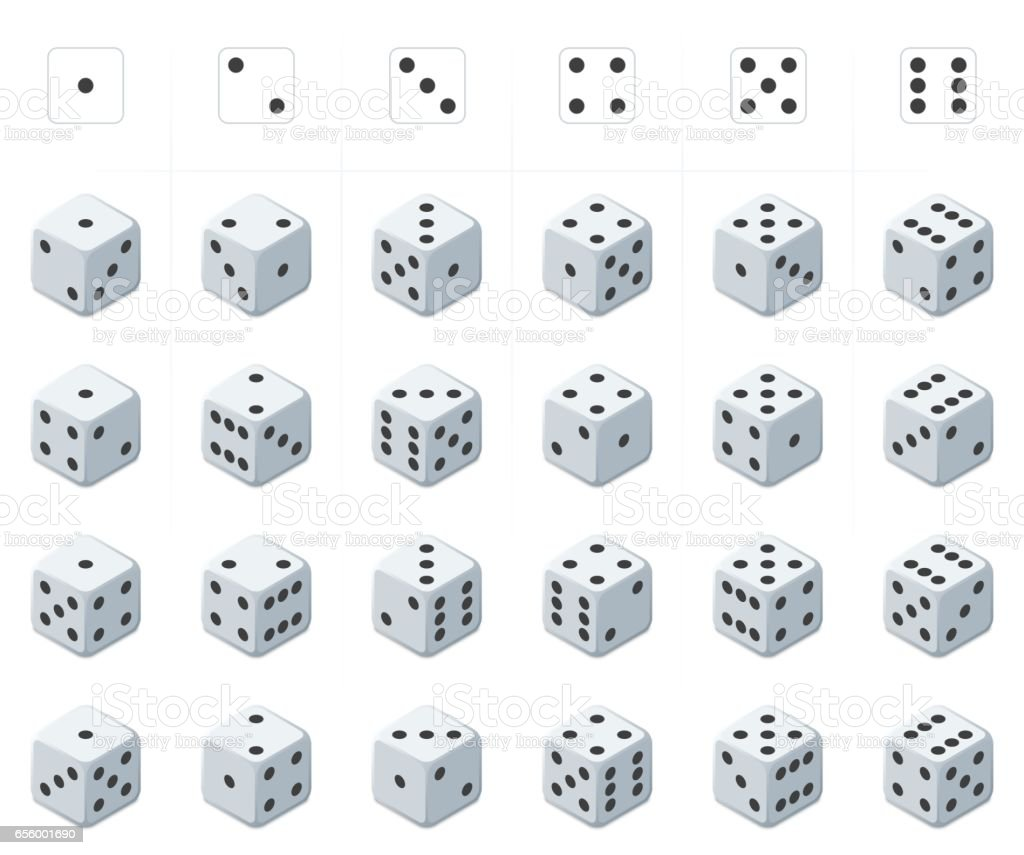 Set of isometric dice vector. vector art illustration