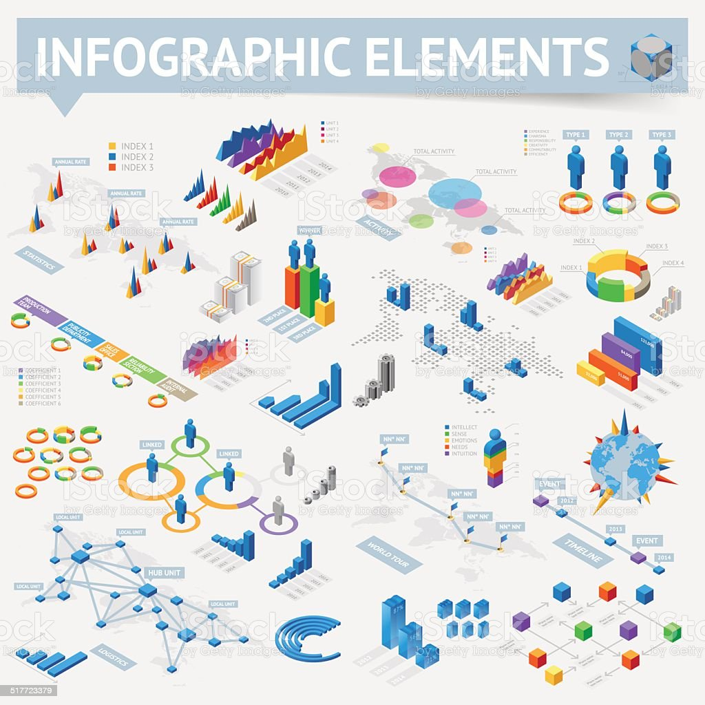 Set of isometric infographics design elements vector art illustration