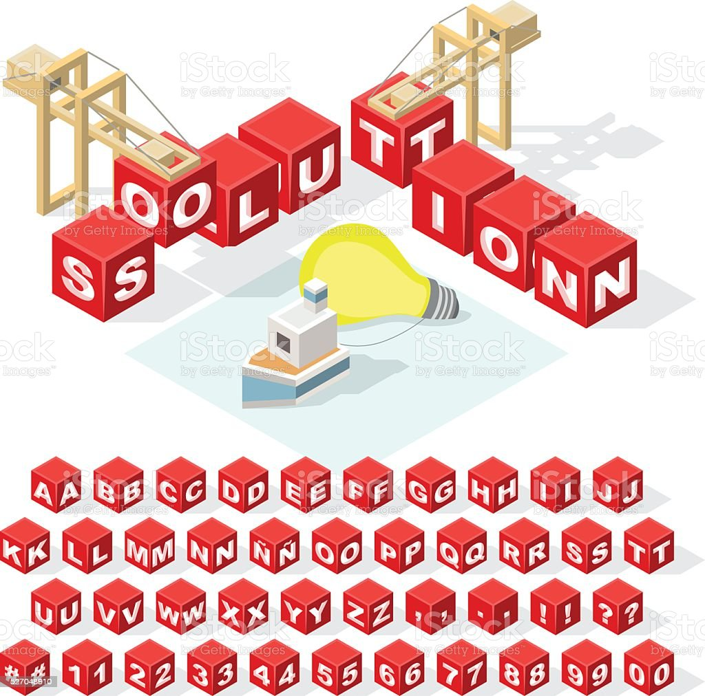 Set of Isometric Latin Alphabet Letters with Numbers. vector art illustration