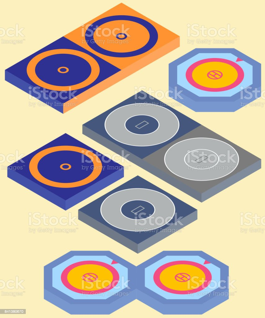 Set of isometric mat and area for freestyle wrestling, greco-roman wrestling and judo vector art illustration