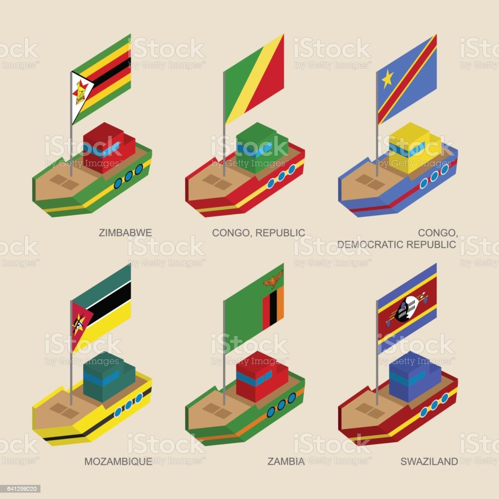 Set of isometric ships with flags of African countries vector art illustration
