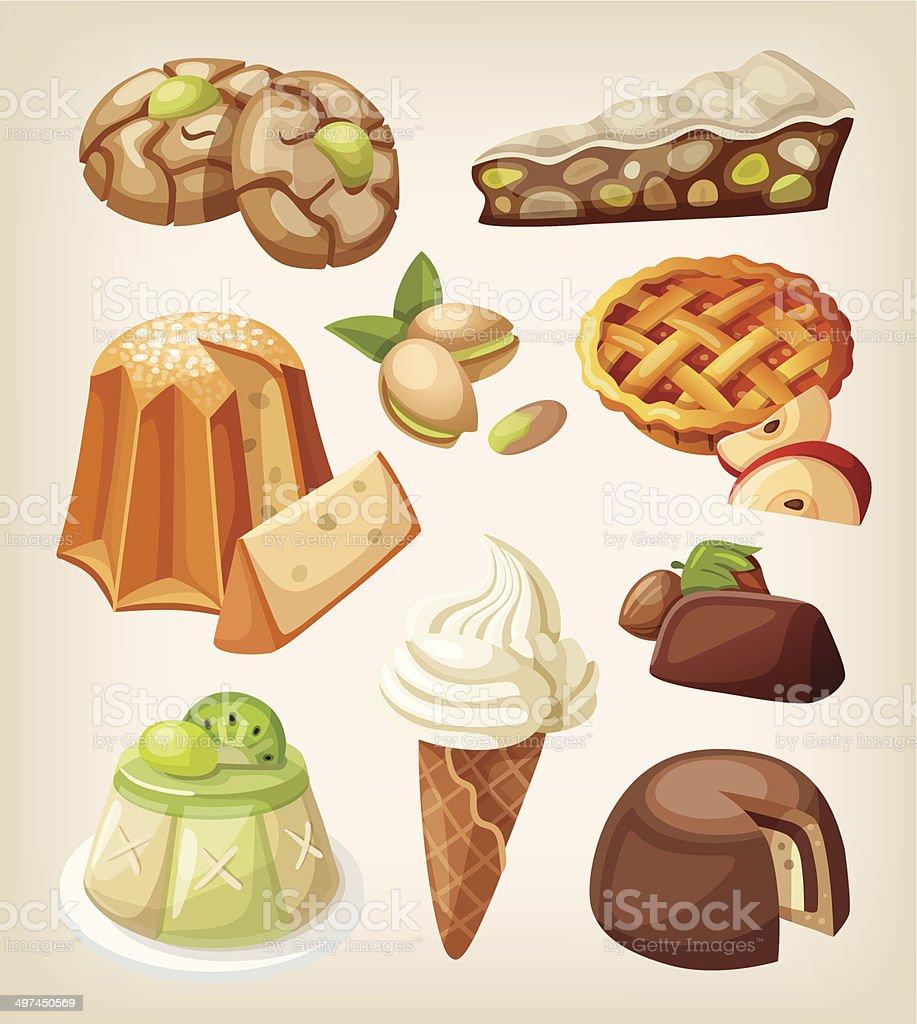 Set of italian desserts royalty-free stock vector art