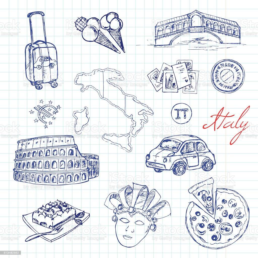 Set of italian drawings. Sketches. Hand-drawing. Vector illustra vector art illustration