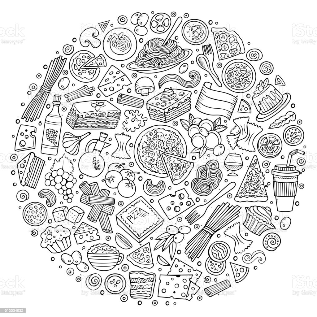 Set of Italian food cartoon doodle objects vector art illustration