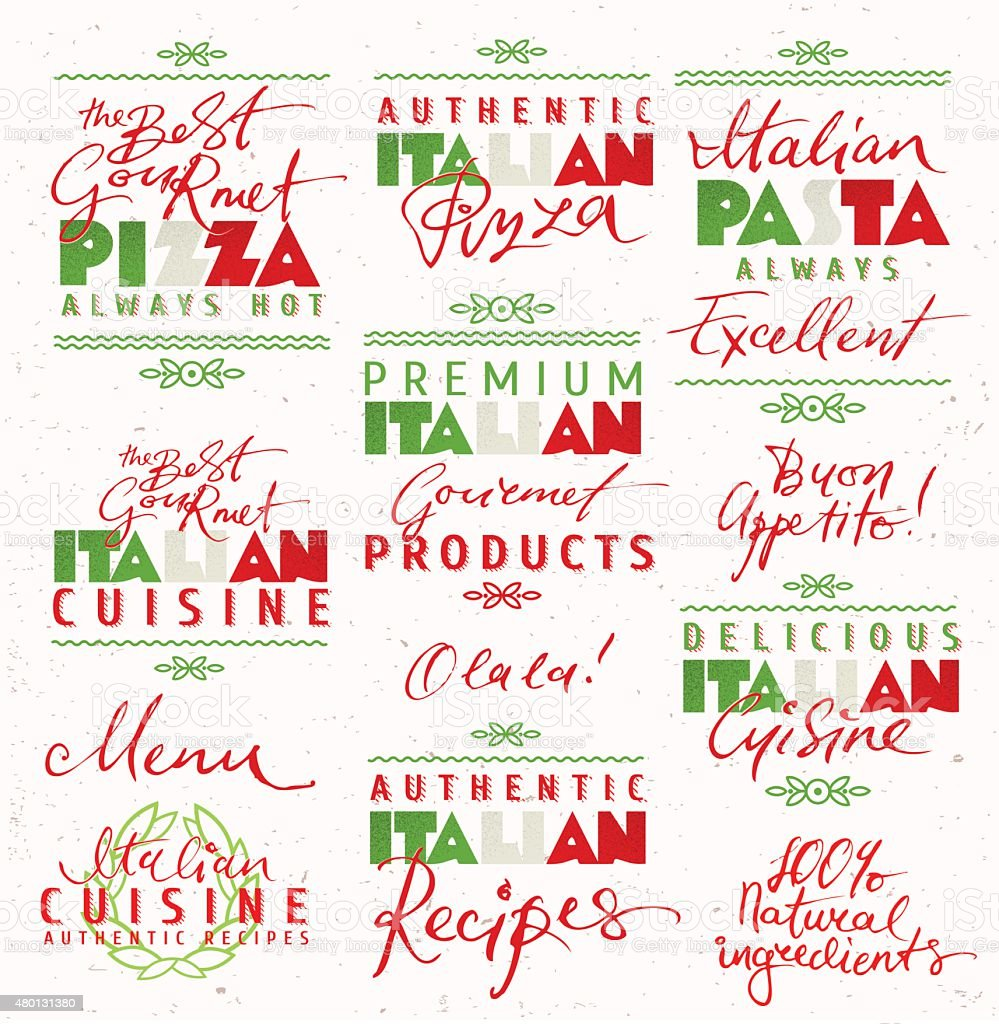 Set of Italian Food Labels vector art illustration