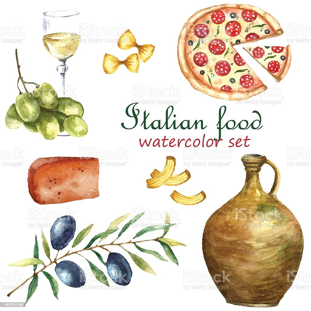 Set of Italy food icons watercolor illustration. vector art illustration