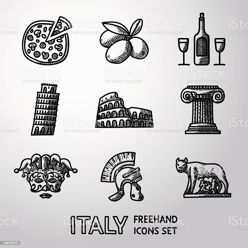 Set of Italy freehand icons - pizza, olives, wine, Pisa vector art illustration