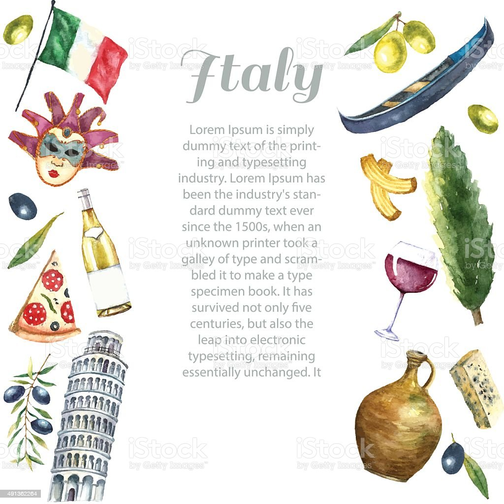 Set of Italy icons watercolor illustration. vector art illustration