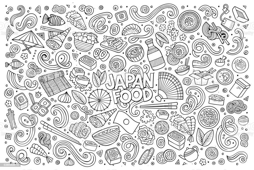 Set of Japan food objects and symbols vector art illustration