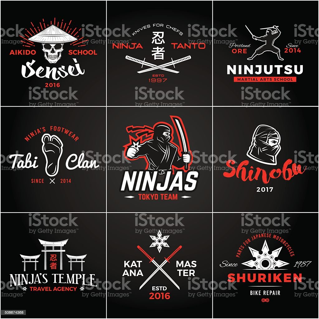 Set of Japan Ninjas insignia design. Vintage ninja mascot badge vector art illustration