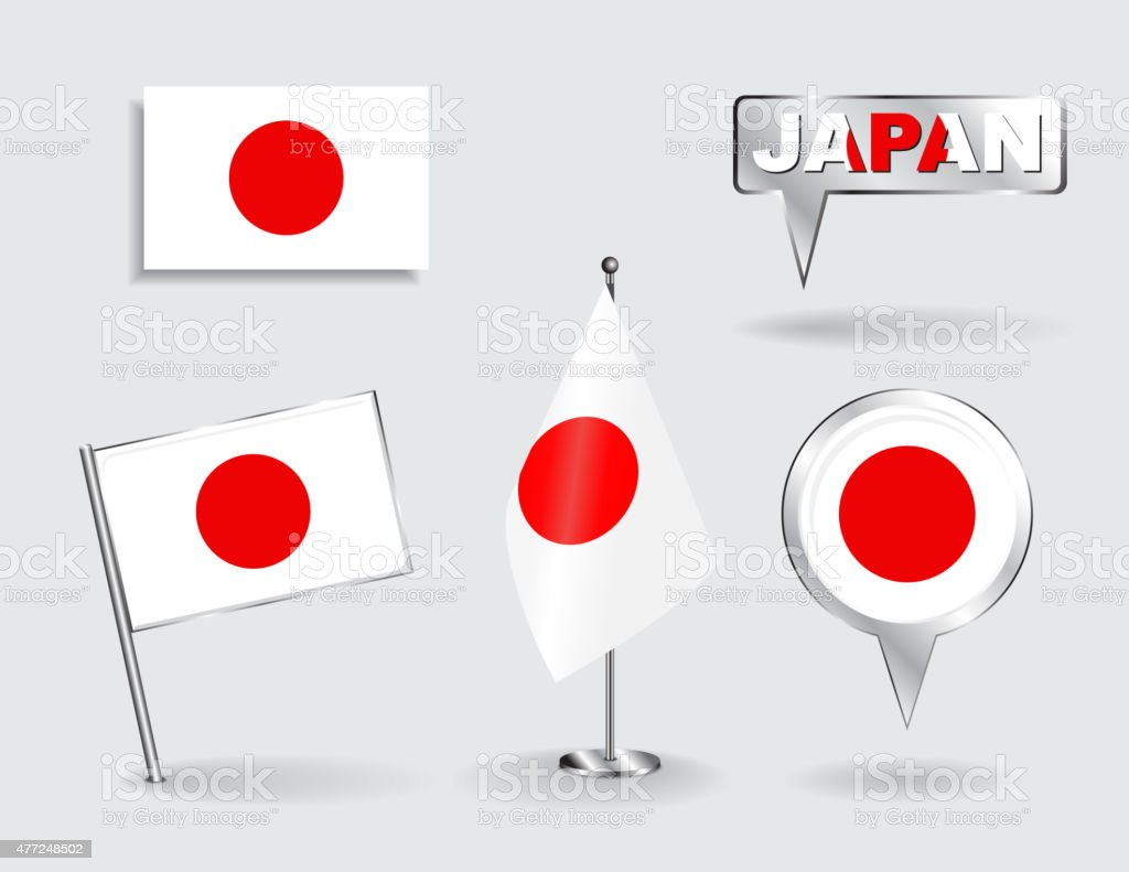 Set of Japanese pin, icon and map pointer flags. Vector vector art illustration