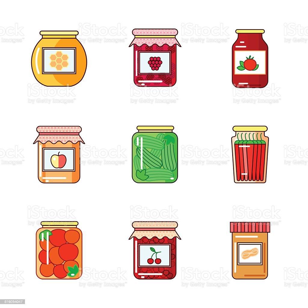 Set of jars with honey, jam and vegetables vector art illustration