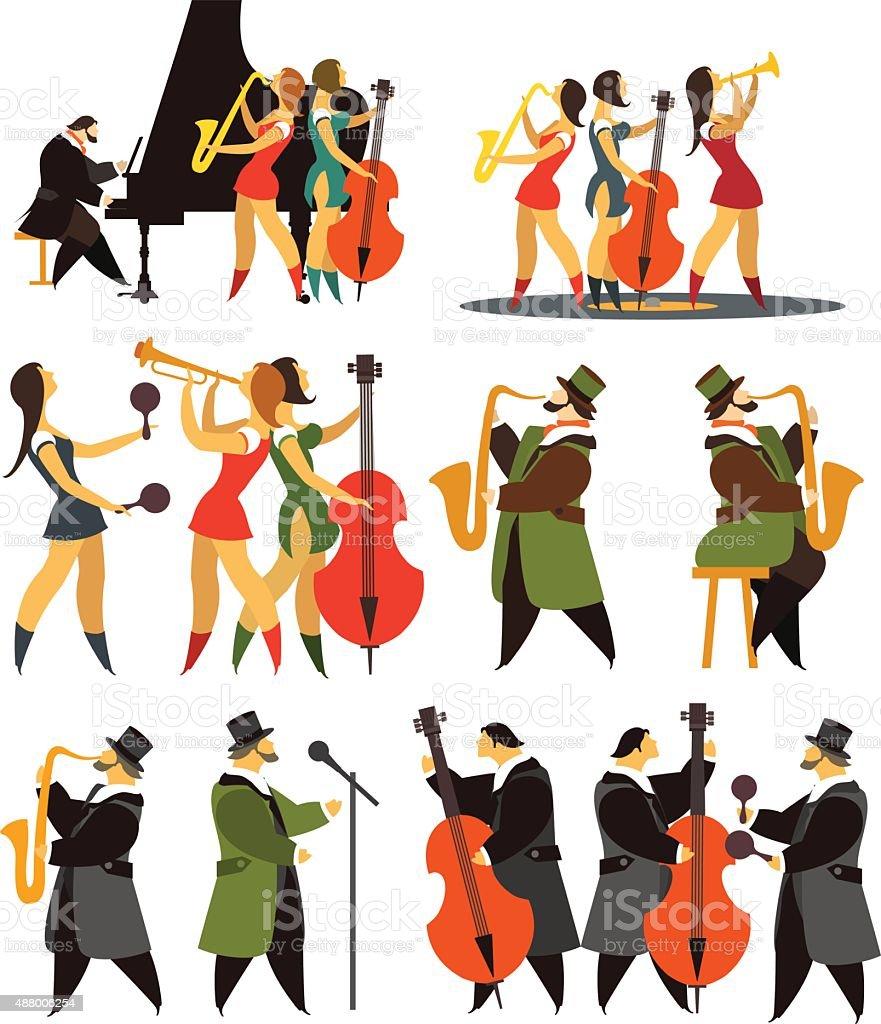 set of jazz bands vector art illustration