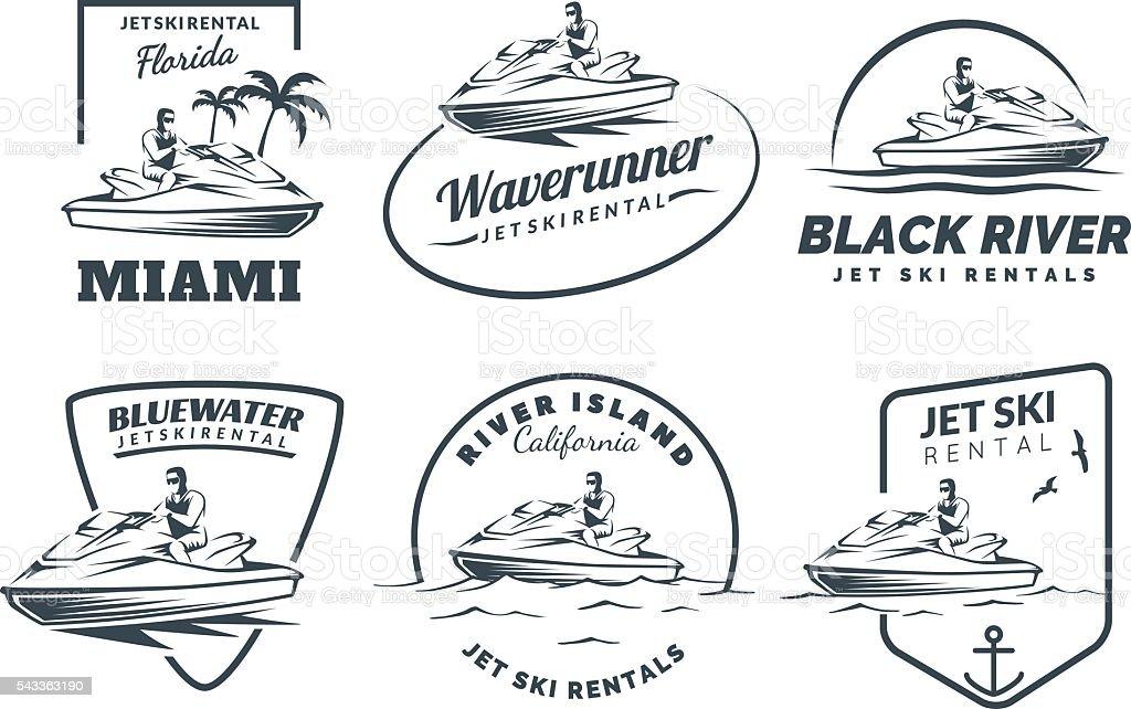 Set of Jet Ski rental logo, badges and emblems. vector art illustration