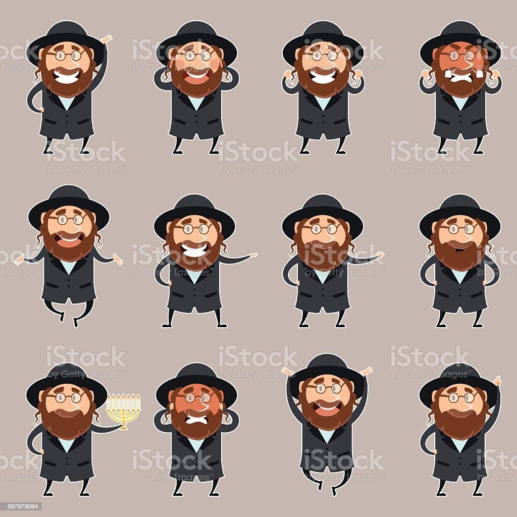 Set of Jews2 vector art illustration