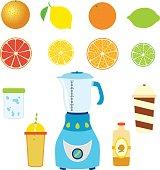 Set of juice ingredients. Orange, lime, lemon, grapefruit, cocktail stuff.